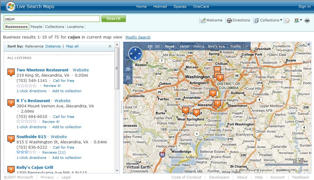 Live Search Maps