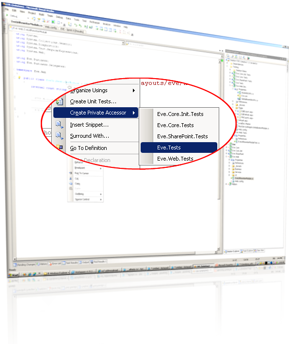 Creating a private accessor with MSTest in VS 2008